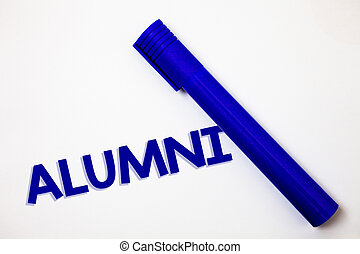 Handwriting text Alumni. Concept meaning Alum Old graduate Postgraduate Gathering College Academy Celebration Ideas messages white background blue marker feelings intentions.