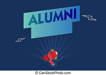 Handwriting text Alumni. Concept meaning former pupil or student especially male one of particular school