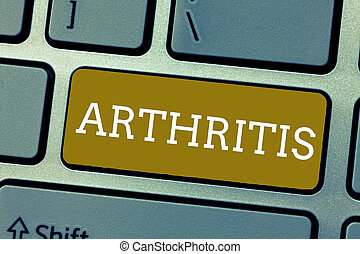 Handwriting text Arthritis. Concept meaning Disease causing painful inflammation and stiffness of the joints