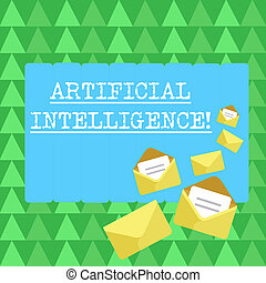 Handwriting text Artificial Intelligence. Concept meaning perform tasks normally requiring huanalysis intelligence Closed and Open Envelopes with Letter Tucked In on Top of Color Stationery.