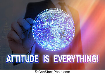 Handwriting text Attitude Is Everything. Concept meaning Personal Outlook Perspective Orientation Behavior Elements of this image furnished by NASA.