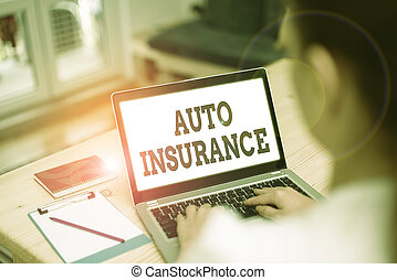 Handwriting text Auto Insurance. Concept meaning mitigate costs associated with getting into an auto accident.