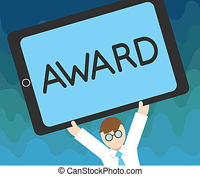 Handwriting text Award. Concept meaning Prize and other mark...