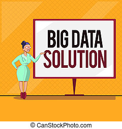 Handwriting text Big Data Solution. Concept meaning Extracting value from huge volumes of a variety of facts