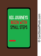 Handwriting text Big Journeys Begin With Small Steps. Concept meaning Start up a new business venture