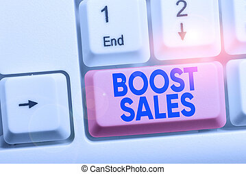 Handwriting text Boost Sales. Concept meaning move sales profit from a lower to a higher place or position White pc keyboard with empty note paper above white background key copy space.