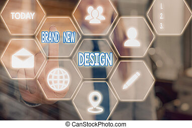 Handwriting text Brand New Design. Concept meaning Brainstorming About Branding Strategy and Product Identity Grids and different set up of the icons latest digital technology concept.