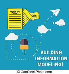 Handwriting text Building Information Modeling. Concept meaning an intelligent 3D modelbased process Information and Documents Passing thru Cloud Hosting Fast delivery of Data.