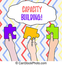 Handwriting text Capacity Building. Conceptual photo Strengthen the abilities of individuals Workforce planning Three Colored Empty Jigsaw Puzzle Pieces Held in Different People Hands