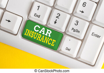 Handwriting text Car Insurance. Conceptual photo Accidents coverage Comprehensive Policy Motor Vehicle Guaranty White pc keyboard with empty note paper above white background key copy space