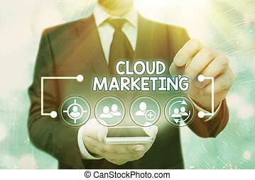 Handwriting text Cloud Marketing. Concept meaning The process of an organisation to market their services.