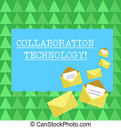 Handwriting text Collaboration Technology. Concept meaning...