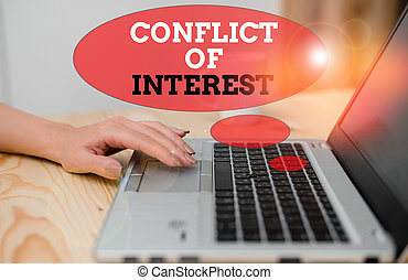 Handwriting text Conflict Of Interest. Conceptual photo disagreeing with someone about goals or targets