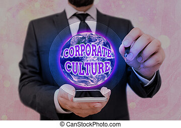 Handwriting text Corporate Culture. Conceptual photo pervasive values and attitudes that characterize a company Elements of this image furnished by NASA