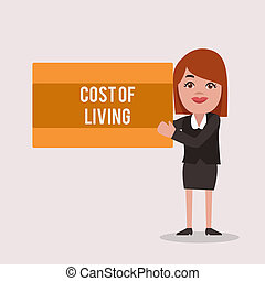 Handwriting text Cost Of Living. Concept meaning The level of prices relating to a range of everyday items