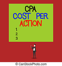 Handwriting text Cpa Cost Per Action. Concept meaning...
