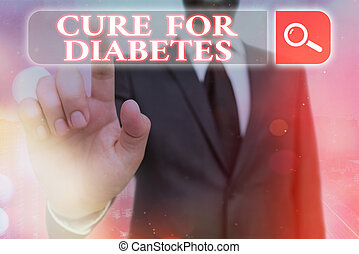 Handwriting text Cure For Diabetes. Concept meaning looking for medication through insulindependent Web search digital information futuristic technology network connection.