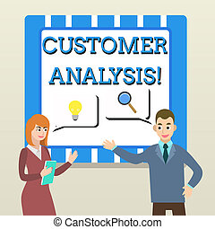 Handwriting text Customer Analysis. Concept meaning systematic examination of a company s is customer information Business Partners Colleagues Jointly Seeking Problem Solution Generate Idea.