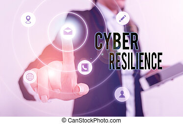 Handwriting text Cyber Resilience. Concept meaning measure ...