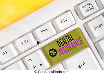 Handwriting text Dental Insurance. Concept meaning form of health designed to pay portion or full of costs.