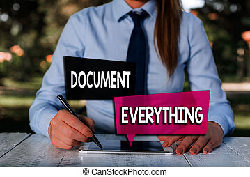 Handwriting text Document Everything. Concept meaning ...