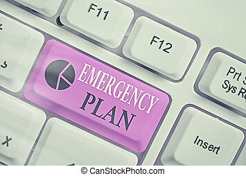 Handwriting text Emergency Plan. Concept meaning procedures for handling sudden or unexpected situations.