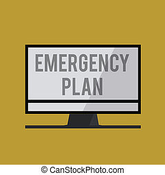 Handwriting text Emergency Plan. Concept meaning Procedures for response to major emergencies Be prepared
