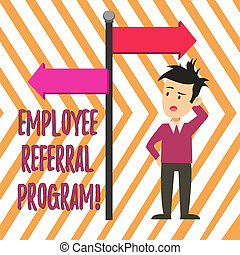 Handwriting text Employee Referral Program. Concept meaning internal recruitment method employed by organizations Man Confused with the Road Sign Arrow Pointing to Opposite Side Direction.