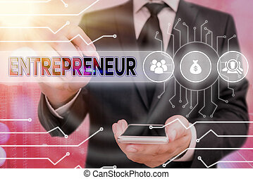 Handwriting text Entrepreneur. Concept meaning one who ...