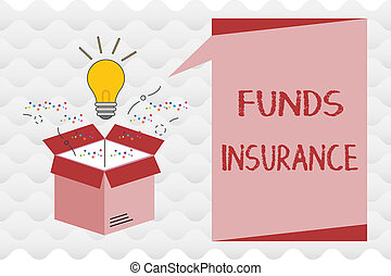 Handwriting text Funds Insurance. Concept meaning Form of collective investment offered an assurance policies