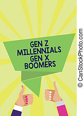 Handwriting text Gen Z Millennials Gen X Boomers. Concept meaning Generational differences Old Young people Man woman hands thumbs up approval speech bubble origami rays background.