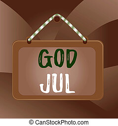 Handwriting text God Jul. Concept meaning Merry Christmas Greeting showing for new year happy holidays Board fixed nail frame string striped colored background rectangle panel.