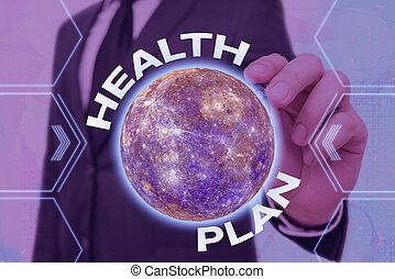 Handwriting text Health Plan. Concept meaning type of insurance that covers highcost medical services Elements of this image furnished by NASA.
