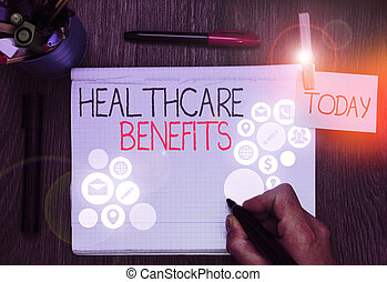 Handwriting text Healthcare Benefits. Concept meaning use the health services without risk of financial ruin.