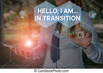 Handwriting text Hello I Am In Transition. Concept meaning Changing process Progressing planning new things Woman wear formal work suit presenting presentation using smart device.