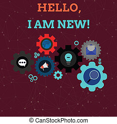 Handwriting text Hello I Am New. Concept meaning introducing oneself in a group as fresh worker or student Set of Global Online Social Networking Icons Inside Colorful Cog Wheel Gear.