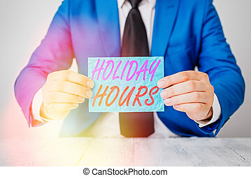 Handwriting text Holiday Hours. Concept meaning Overtime ...
