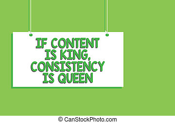 Handwriting text If Content Is King, Consistency Is Queen. Concept meaning Marketing strategies Persuasion Hanging board message communication open close sign green background.