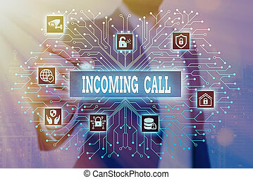 Handwriting text Incoming Call. Concept meaning Inbound Received Caller ID Telephone Voicemail Vidcall.