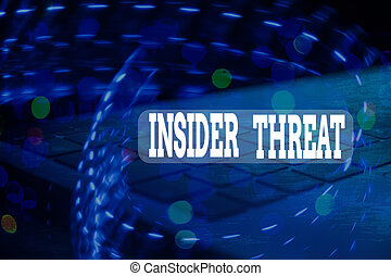 Handwriting text Insider Threat. Concept meaning security threat that originates from within the organization.