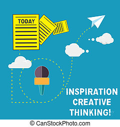 Handwriting text Inspiration Creative Thinking. Concept meaning Ability to come up with fresh and new ideas Information and Documents Passing thru Cloud Hosting Fast delivery of Data.
