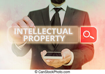 Handwriting text Intellectual Property. Concept meaning work or invention that is the result of creativity.