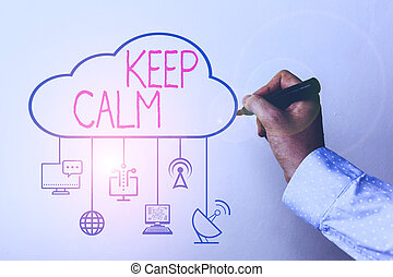 Handwriting text Keep Calm. Concept meaning not get emotionally invested in situations you cannot control over.