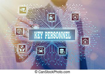 Handwriting text Key Personnel. Conceptual photo Program Directors Principal Investigator Project Executives