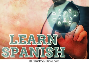 Handwriting text Learn Spanish. Concept meaning to train ...