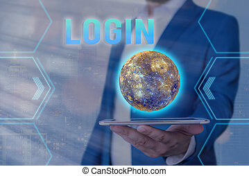Handwriting text Login. Conceptual photo process by which an individual gains access to a computer system Elements of this image furnished by NASA