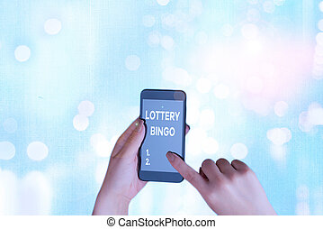 Handwriting text Lottery Bingo. Concept meaning game of chance in which each player matches numbers printed.