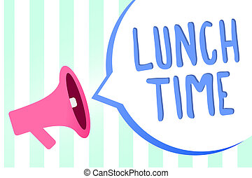 Handwriting text Lunch Time. Concept meaning Meal in the...
