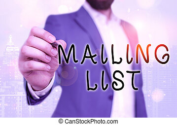 Handwriting text Mailing List. Concept meaning list of showing who subscribe to a periodic mailing distribution.