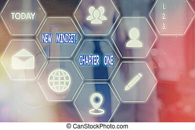 Handwriting text New Mindset, Chapter One. Concept meaning change on attitudes and thinking Improve hard work Grids and different set up of the icons latest digital technology concept.
